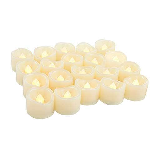 Flameless LED Tea Light Candles Battery Operated Fake Flickering Electric Unscented Tealights for Easter Party Wedding Decorations Home Décor Batteries Included, Wave Open, Cream White, 20 PCS