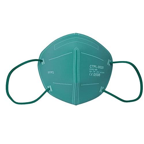 MediaSanex FFP2 Mundschutz   25 Stück   Atemschutzmaske   FFP2 Maske   5-lagig   CE-zertifiziert   Einzeln verpackt   Einmalgebrauch (Gras Grün / Hellblau)
