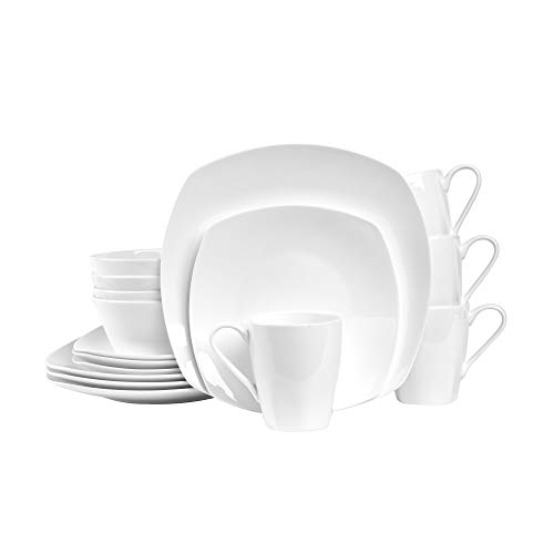 Stone Lain Square 32 Piece Dinnerware Set, Plain White