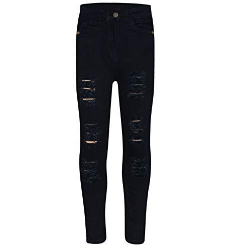 A2Z 4 Kids Kinder Mädchen Dünn Jeans Designer Denim - Girls Jeans JN28 Jet Black 9-10