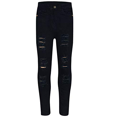 Kids Girls Skinny Jeans Denim Ripped Fashion - Girls Jeans JN28 Jet Black 9-10