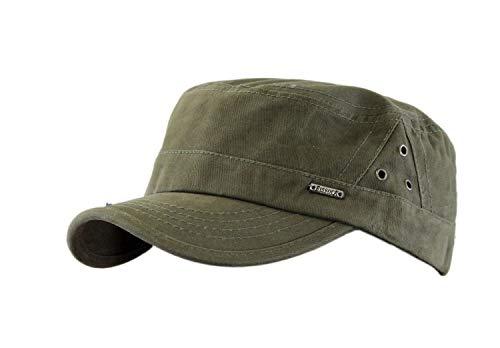 Leoodo Cappello da uomo e donna, stile militare, in cotone, regolabile, per escursionismo e sport, verde, Taglia unica