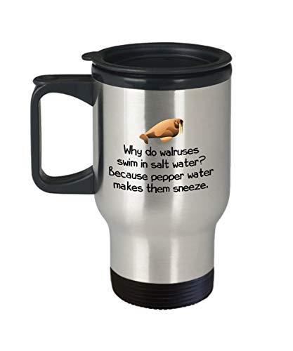 Zachrtroo grappige walroet-reisbeker leuk walross-cadeau-walross-liefhebbers-cadeau, waarom walrosse in zout water zwemmen
