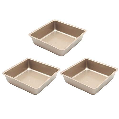 Premium Mini 4-Inch Non-Stick Square Baking Pan Square Toast Bread Tray Pie Bakeware Cake Baking Dishes Pans, Set of 3