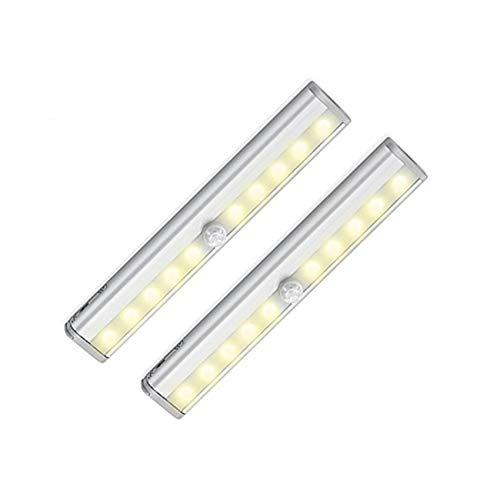 Inalámbrico Luz del Gabenete,10-Leds Sensor De Movimiento Luces LED Armario Luces para Armarios con Construido-en USB Recargable Batería,Blanco Cálido,para Cupboard-2 Packs