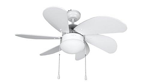 Orbegozo CP 15076 B - Ventilador de techo con luz, 6 aspas de madera, silencioso, 3 velocidades de ventilación, 80 cm de diámetro, 50 W de potencia