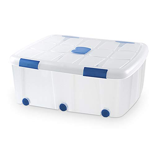 PLASTIC FORTE, Caja de almacenamiento, TRANSPARENTE, 100 litros, con ruedas