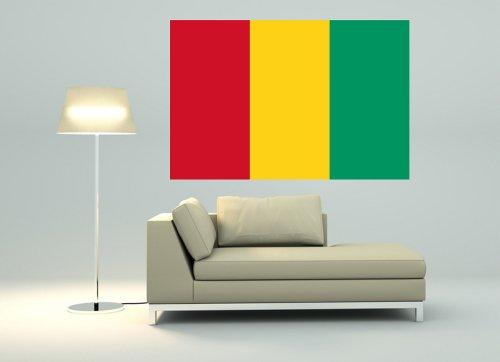 Kiwistar Wandtattoo Sticker Fahne Flagge Aufkleber Guinea 80 x 53cm