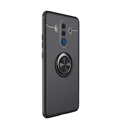 Lasvos Kompatibel mit hülle Huawei Mate 10 Pro hülle Ring Stand 360 Grad drehbarer Silikon TPU Schutzhülle Bumper Outdoor Stoßfest Handyhülle für Mate 10 Pro (Huawei Mate 10 Pro, Schwarz + schwarz)