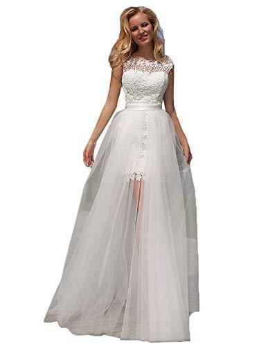 Nanger Damen Spitze Hochzeitskleider Kurz mit Abnehmbar Tüll Rock Brautkleider Strand Ballkleider Elfenbein 36