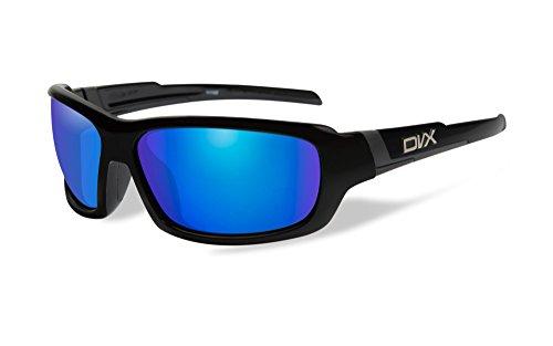 DVX Spoiler - ANSI Z87.1 - Blue Mirror Lenses/Gloss Black Frame (OSHA Compliant Safety Glasses)