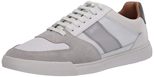 Hugo Boss BOSS Green Men's Leather Small Logo Sneaker, Open White, 44 M EU (10 US)