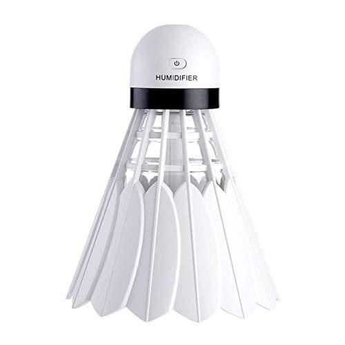 Zybnb Mini USB DC5V Ultraschall Luftbefeuchter Luftverteiler Nebelhersteller mit LED Nachtlicht Badminton Luftbefeuchter für Home Office Car Use @ White