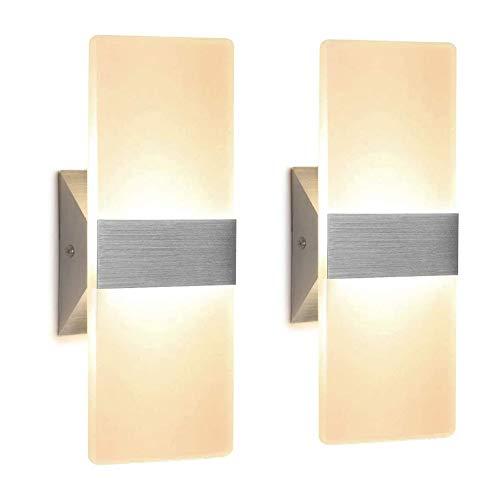ZYLZL Lámpara de pared para exteriores, interior, de acrílico, de 12 W, moderna, LED, para sala de estar, pasillo, dormitorio, baño y escaleras de pasillo, blanco cálido, paquete de 2, War