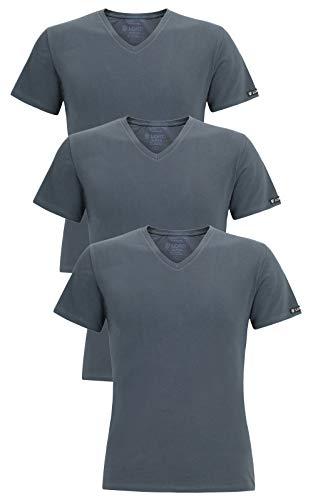 LORD 3er Pack Herren T-Shirt V-Neck, Unterhemd V-Ausschnitt, Baumwolle und Elastan, Slimfit L grau