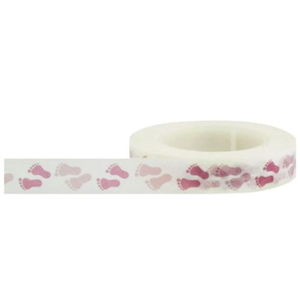 Little B 100021 Decorative Paper Tape, Baby Pink Footprints