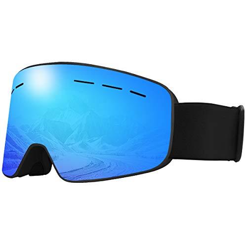 X-TIGER Maschera da Sci, Occhiali da Sci Ski Snowboard Antivento Anti Fog UV 400 Protezione con Staccabile Grandangolare Lenti Goggles Ampio Angolo di Visione (XJ-0204)