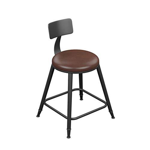 J-HOME Tabouret de bar Tabouret de Bar Style Vintage en Fer forgé Rond Tabourets de Bar en Bois pour Cuisine Fauteuil de Petit déjeuner en Cuir Noir (Hauteur de l'assise 45/60/68/73/78/85 cm) pour la