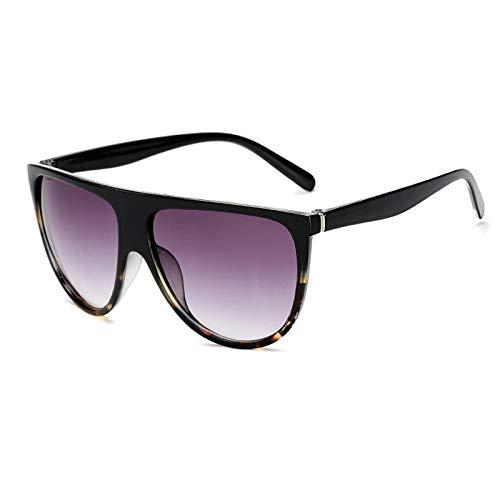 Astemdhj Gafas de Sol Sunglasses Gafas De Sol De Piloto con Parte Superior Plana para Mujer Escudo Degradado Gafas De Sol Negras De Gran Tamaño Moda Popular Gafas De Sol De Ojo DeAnti-UV