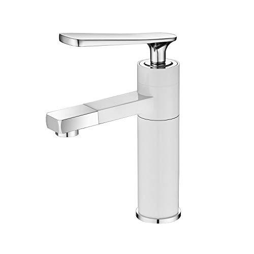 Grifo de rotación de 360 grados Grifo para lavabo de color moderno con mango único, blanco, LK05519W