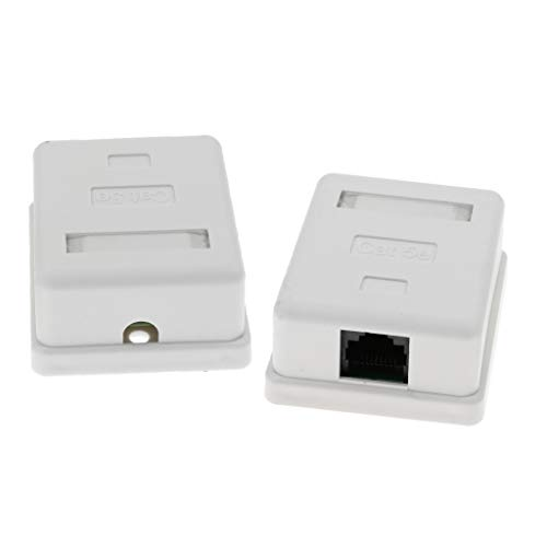 H HILABEE 2X Cat5e Conector Ethernet de Red de Montaje en Pared en Superficie 1 Puerto 8P8C