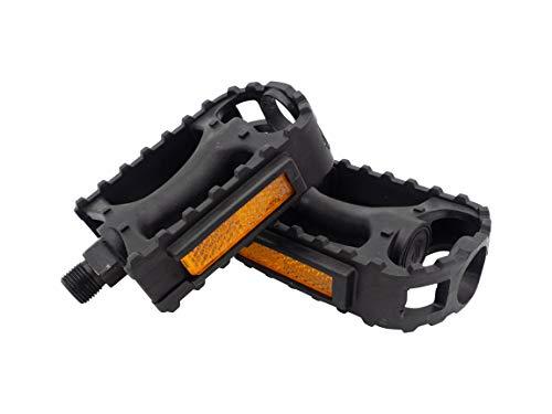 Fahrradpedale mit Reflektoren und rutschhemmender Trittfläche Farbe schwarz universal passend für alle Mountainbike MTB Citybike mit Standard-Gewindetyp 9/16