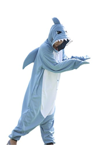 wotogold Animal Requin Pyjamas Unisexe Costumes Cosplay pour Adultes Bleu,S