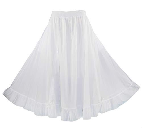 Beautybatik White Women Cotton Boho Gypsy Long Maxi Victorian Flare Skirt 1X