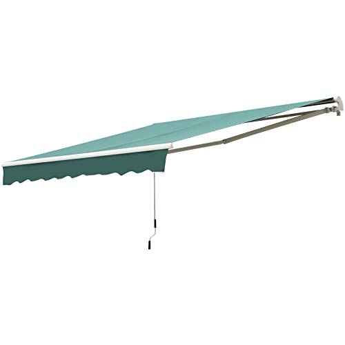 Outsunny 10' x 8' Manual Retractable Sun Shade Patio Awning with UV Protection and Easy Crank Opening, Green