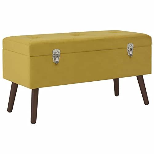 Tidyard Banco con Compartimento Terciopelo Amarillo Mostaza 80 cm Baúl Puff Taburete para almacenaje Plegable Carga