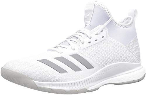 adidas Women's Crazyflight X 2 Mid Volleyball Shoe, White/Silver Metallic/Grey, 12.5 M US