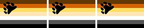 Etaia 2,5x4 cm - 3X Mini Aufkleber Fahne/Flagge Bären Bear Hairy Gay Rainbow kleine Sticker Auto Fahrrad Motorrad Bike Handy CSD