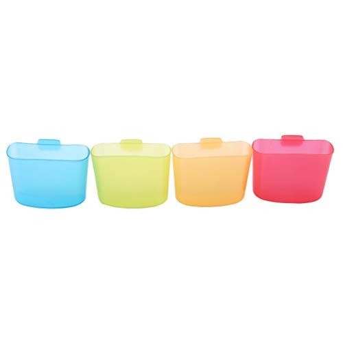 SUNSKYOO 4 Stücke Hängen Teebeutel Kunststoff Kreative Reise Tragbare Nachmittag Dessert Werkzeugschale Cookie Ständer Clips, Vier-Farben-Mischen