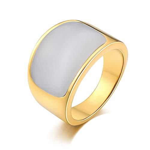 Ubestlove Siegelring Vergoldet Damen Edelstahl Siegelring Edelstahl Herren Halbbogen Signet Ring Grau White 66.5