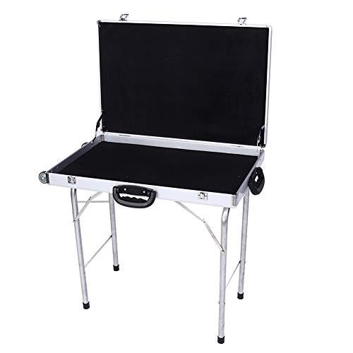 Lahomie Aluminium campingtafel, opvouwbare tafel, metaal, aluminium campingtafel, vouwtafel, aluminiumlegering, sieradenkoffer, opvouwbare vitrine met handgrepen, wielen 50 cm statief