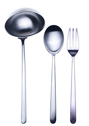 Mepra Linea Ice 3 Pcs Serving Set – Brushed Steel Tableware, Dishwasher Safe Cutlery, Metallic