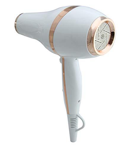 Secador de cabello LIM HAIR LX BLANCO. Diseño LUXURY, NanoSILVER, 2200 W, PROFESIONAL, vida Extra larga y peso reducido ligero. 2 boquillas y difusor. Equilibrio entre potencia, vida y peso