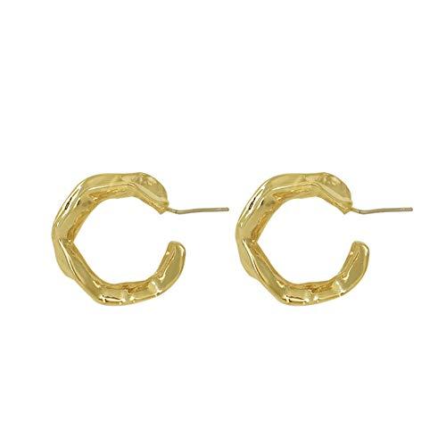 Yhhzw Pendientes De Aro De Oro Anchos Geométricos Irregulares Con Poste De Plata Antialérgico De Joyería Mínima Navideña Para Mujer