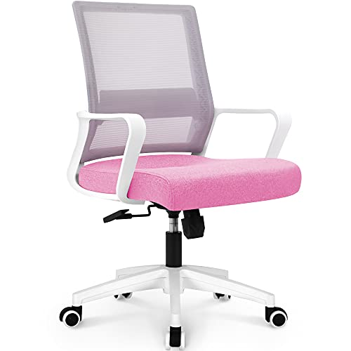 NEO CHAIR Office Swivel Desk Ergonomic mesh Adjustable Lumbar Support Computer Task Back armrest Home Rolling Women Adults Men Comfort Chairs Height Comfortable Gaming Modern (Pink)
