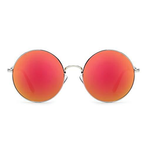 JM Retro Tondo Metallo Occhiali da Sole Donne Maschi Uomo Flash Specchio Riflessivo Cerchio Lente UV400 (Montatura Argento/Lente Polarizzata Rosso Flash)