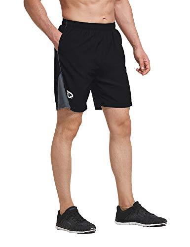 BALEAF Men's Quick-Dry Lightweight Pace Running Shorts with Inner Pocket Black S