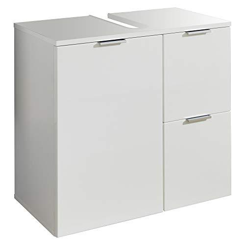 trendteam smart living Badezimmer Waschbeckenunterschrank Unterschrank Concept One, 60 x 64 x 34 cm Front Weiß Hochglanz, Korpus Weiß Melamin mit viel Stauraum