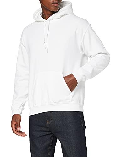 GILDAN Men's Heavyweight Hooded Sweatshirt Hoodie, White, L UK