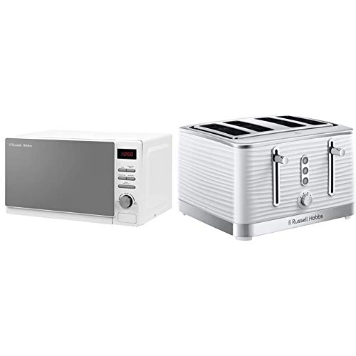 Russell Hobbs RHM2079A 20 L 800 W White Digital Solo Microwave with 5 Power Levels & 24380 White Inspire High Gloss Plastic Four Slice Toaster