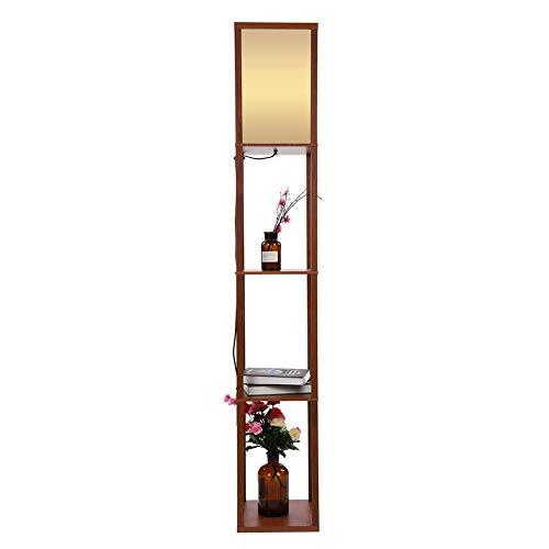 EBTOOLS Stehleuchte, 220V Stehlampe Innenbeleuchtung aus Eichenholz mit 3 Regalen Lampe Leuchte für Schlafzimmer und Wohnzimmer (Braun)