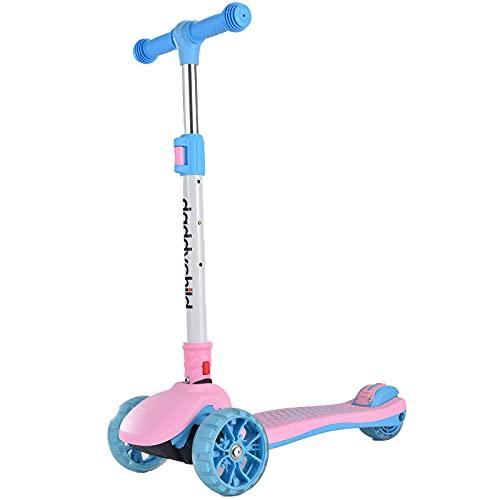 Patinete infantil de 3 ruedas plegable para niños a partir de 3 – 14 años, patinete infantil con 3 ruedas LED de poliuretano, manillar ajustable, máximo 50 kg (rosa)