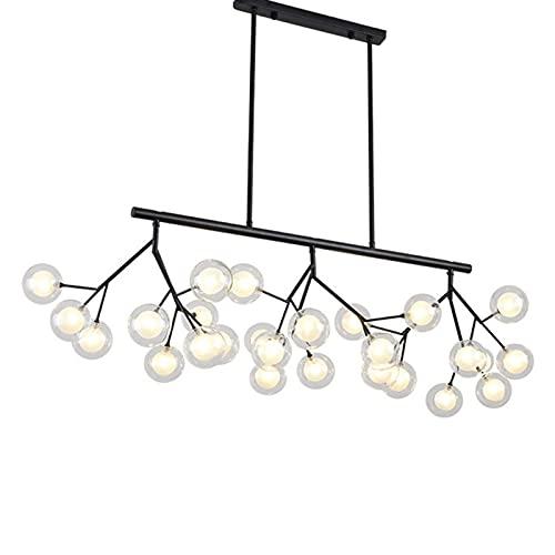 FGART Lámparas de araña industriales modernas de Firefly Sputnik, G4 27 luces colgantes rectangulares de luz de techo de rama negra para sala de estar, dormitorio, 120 x 28 cm