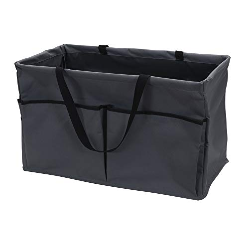 Household Essentials Grey Krush Canvas Utility Tote with Pockets   Reusable Grocery Shopping Bag