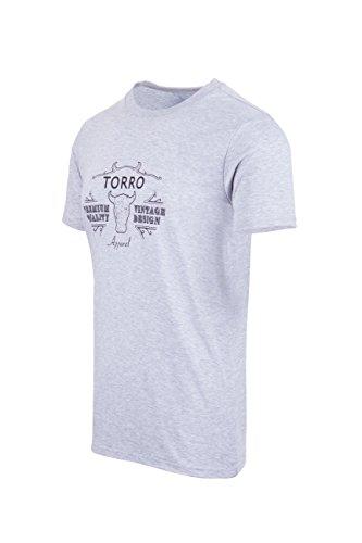 TORRO 'Classic' Short Sleeve T-Shirt - Custom fit, Round neck (Dolphin Blue - Mens Small )