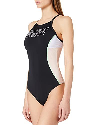PUMA Womens Swim Women's Racerback One Piece Swimsuit, Black Combo, M